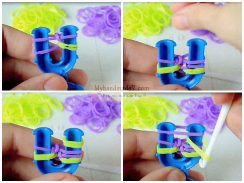 Пошаговые плетение браслетов из резинок