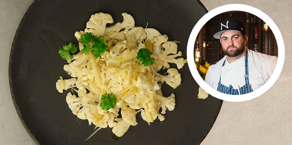 Карпаччо из цветной капусты с пармезаном и понзу