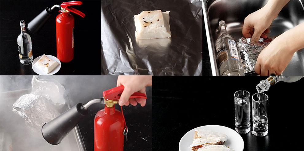 Как охладить водку и сало огнетушителем