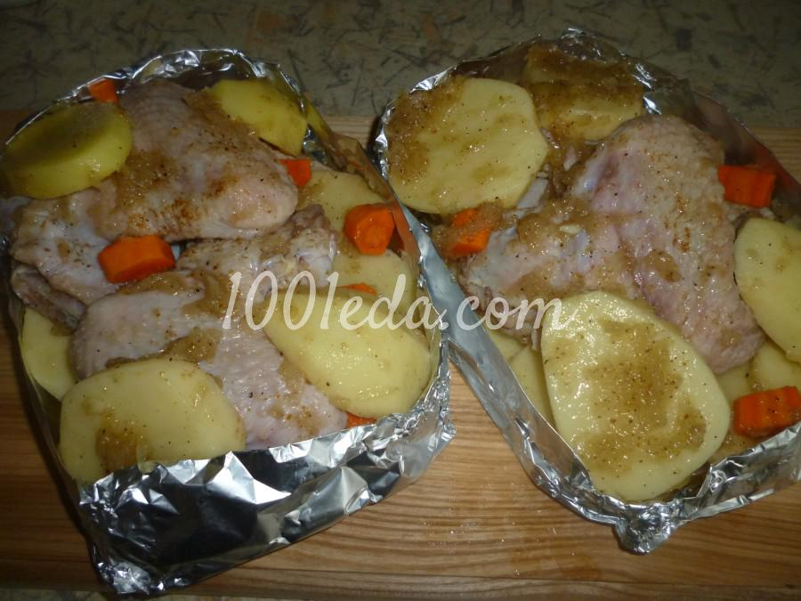 Приготовить курицу и картошку на сковороде
