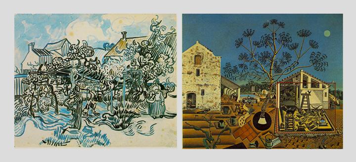Картины Винсента Ван Гога и Хуана Миро, которые алгоритм посчитал дальними родственниками