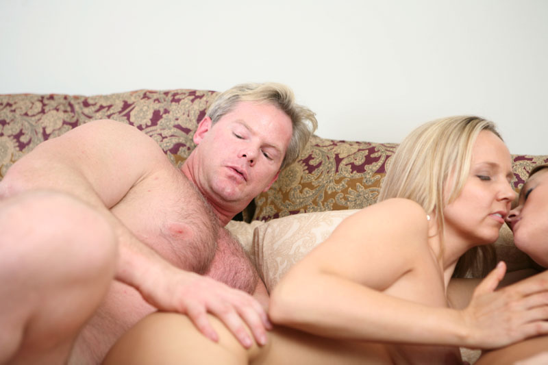 Blondes deep throating cock