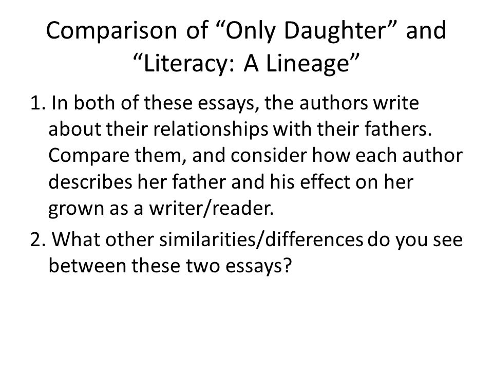 Only daughter essay