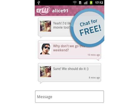 Online dating chat conversation