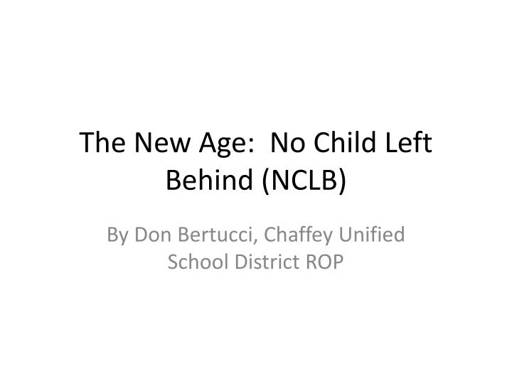 No child left behind research paper