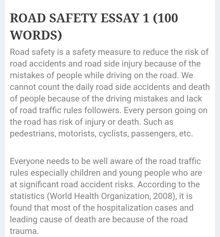 Road Safety Essay - ThePensterscom
