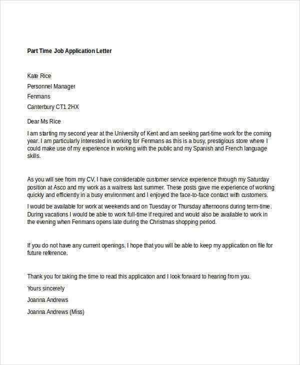 Job Cover Letters For Application
