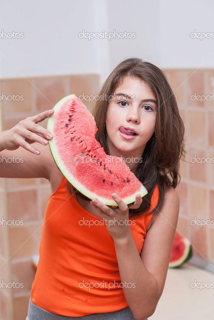 Slim big breast teen