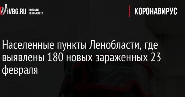Населенные пункты Ленобласти, гдевыявлены 180новых зараженных 23февраля