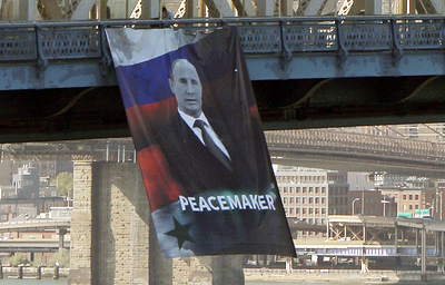 Баннер спортретом В.Путина появился намосту вНью-Йорке