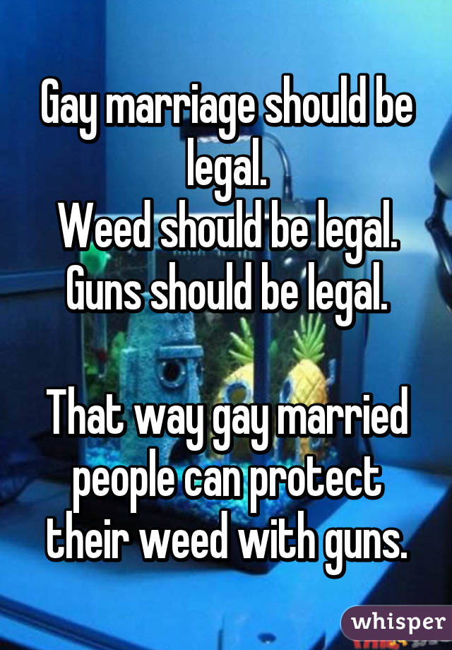 gay marriage why should it be Gay marriage should be legalized because there are legal advantages of being married, the rate of adoptions will increase, and children with married parents are better off growing up.