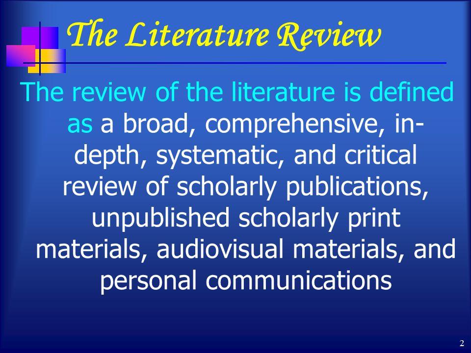 Writing the Literature Review - University of Pretoria