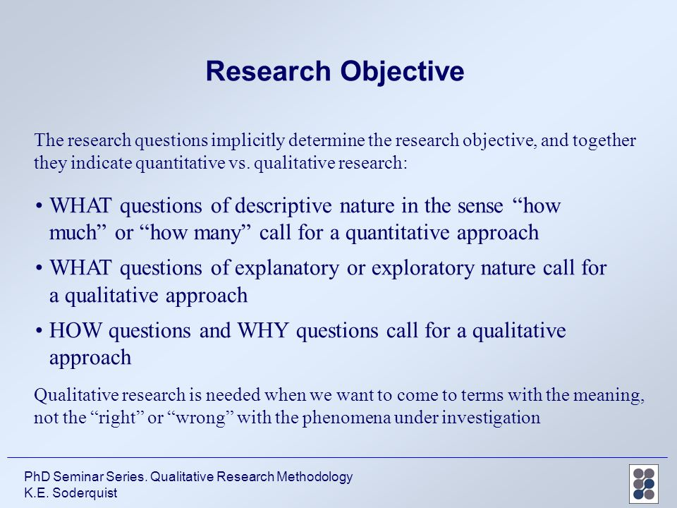good research questions dissertations Good research questions make me think i can solve an important problem they trigger an entrepreneurial reaction that makes me think that my work can help build a better tomorrow.