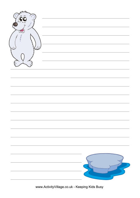 Free printable polar bear writing paper - BookaDay