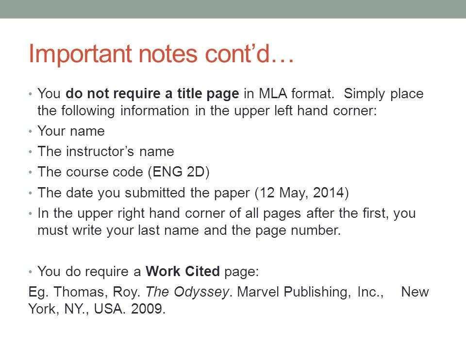 English Paper Mla Format