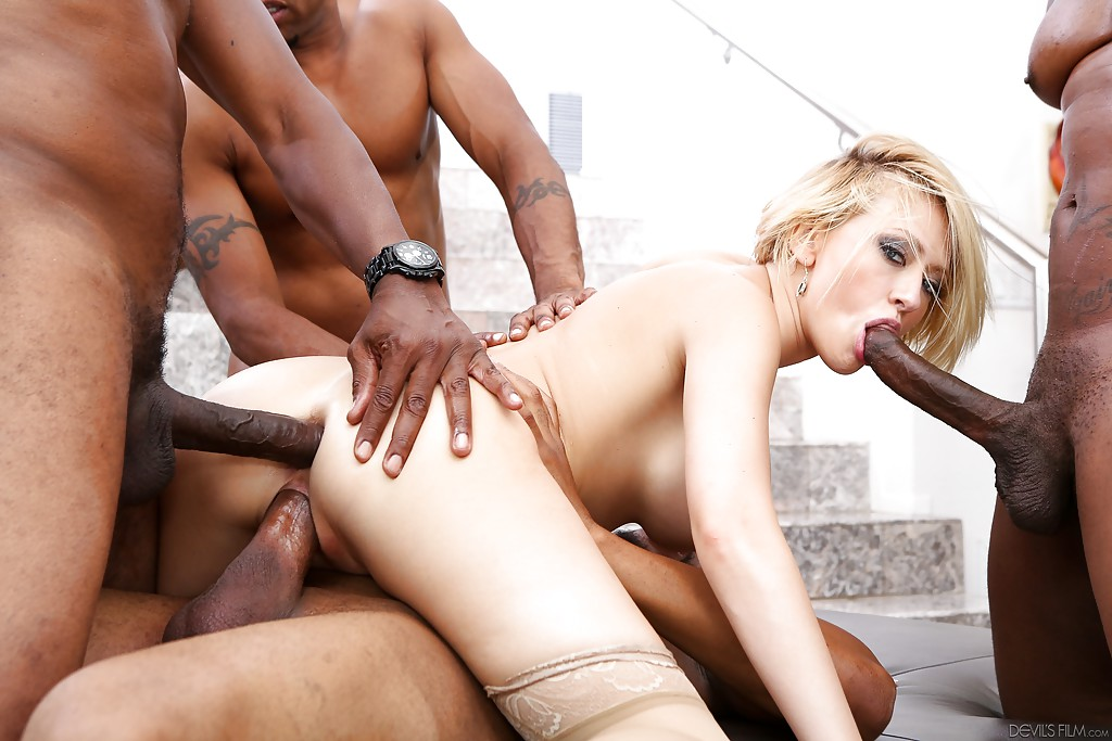 Blonde interracial gang bang movie