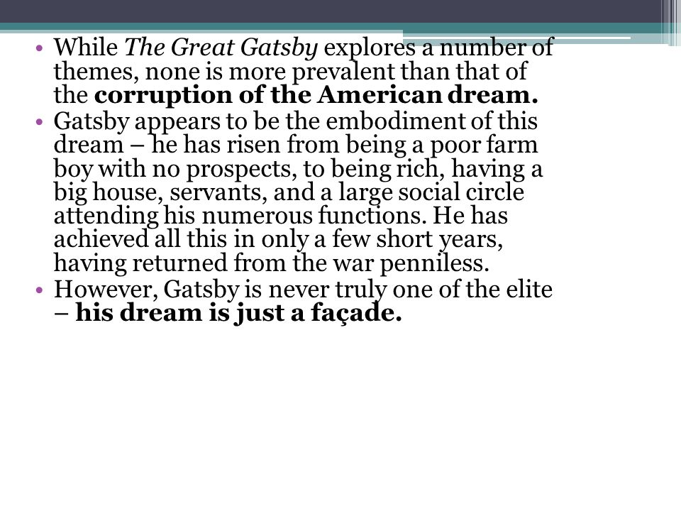 Great gatsby american dream thesis