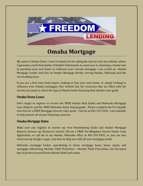 Omaha mortgage loan