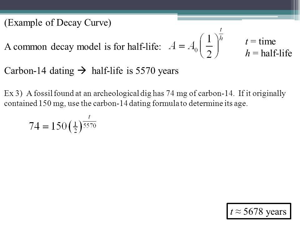 Carbon dating half life formula