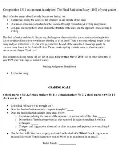 english reflective essay assignment