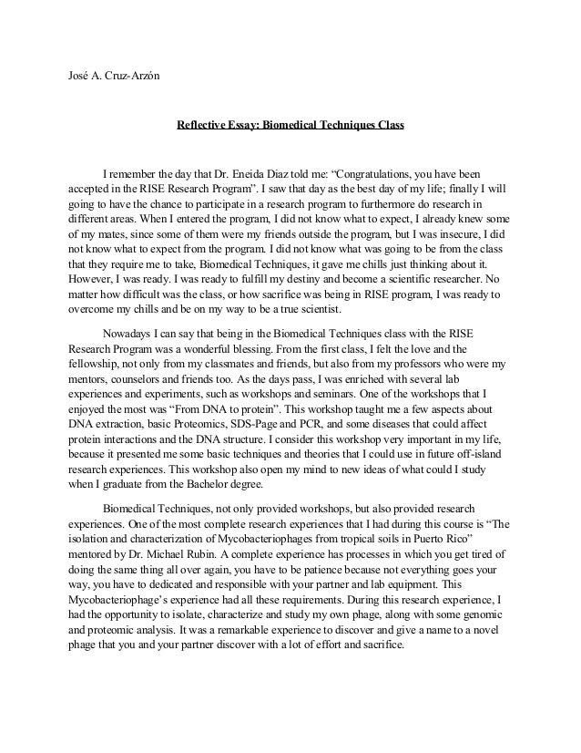 reflective essay samples free - Personal Reflective Essay Examples