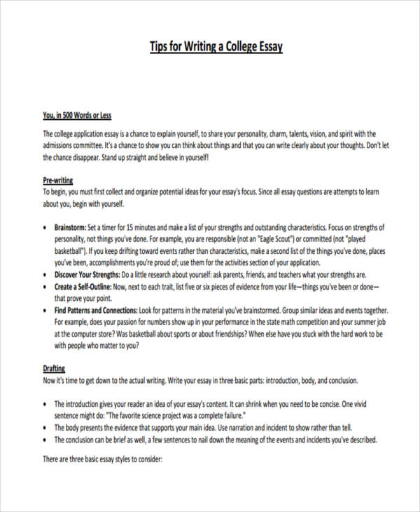 Write my essay college format