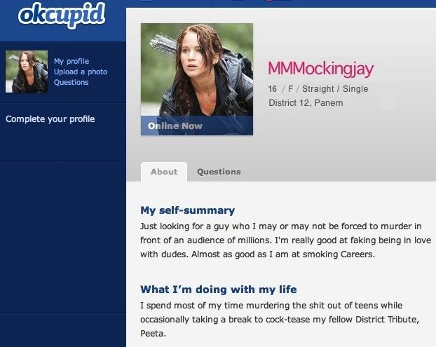 Example female profile for dating site