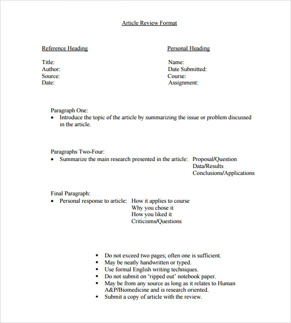 Research article review sample
