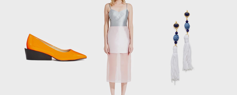 Туфли Cheap Monday, 5473 р., платье I am, 16 500 р., серьги Kenneth Jay Lane, $60