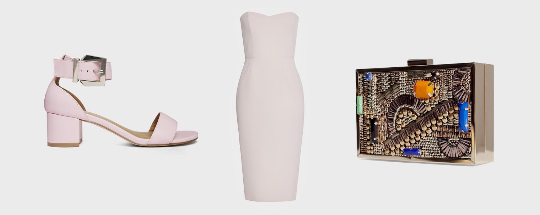 Босоножки Asos, 2053 р., платье Luda Nikishina, 14 500 р., клатч Zara, 2999 р.