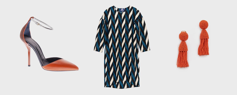 Босоножки Vionnet, 30 000 р., платье Update, 3990 р., клипсы Oscar de la Renta, $345