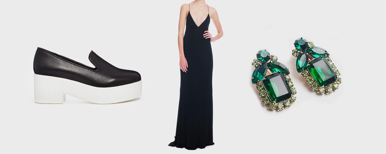 Лоферы Shellys London, 5815 р., платье Vionnet, 17 400 р., клипсы Juliana, 3920 р.