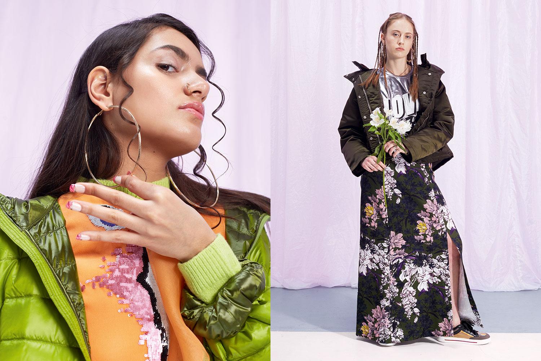Слева: куртка Uniqlo, 2999 р.,  платье Dior, 29685 р.,  серьги H&M, 299 р. Справа: куртка Acne, 34950 р.,  майка Asos, 1969 р.,  юбка MSGM, 39950 р.,  кроссовки Marc by Marc Jacobs, 16500 р.,  серьги H&M, 599 р.