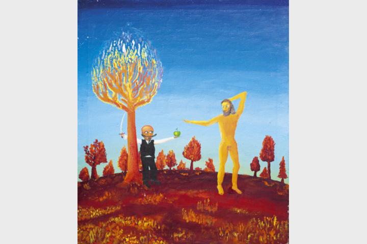 «Вождь мирового пролетариата поясняет Адаму о пользе яблок». Холст, масло. 1989