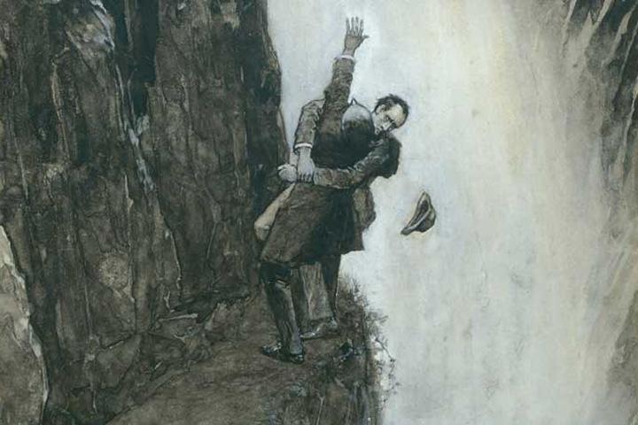 Холмс против Мориарти: иллюстрация Сидни Пэджета, нарисовавшего известный нам образ сыщика