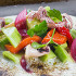 Ресторан Сыр - фотография 6 - Теплый салат из мини-кальморов с огурцами, маринованным перцем и кремом из картофеля