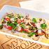 Ресторан Мумий Тролль Music Bar - фотография 17 - Сладкие розовые помидоры с гуакамоле и копчёным сыром.