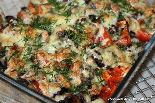 Баклажаны с грибами в духовке рецепты быстро и вкусно с