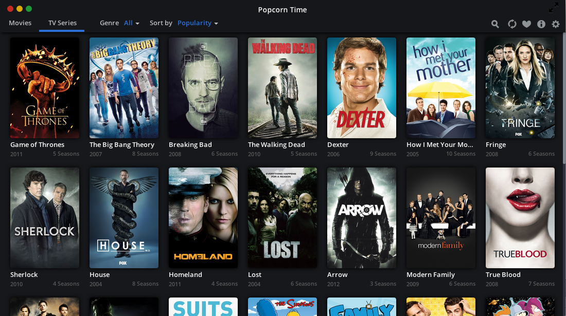 Download free movies for off-line viewing from Popcorn Time