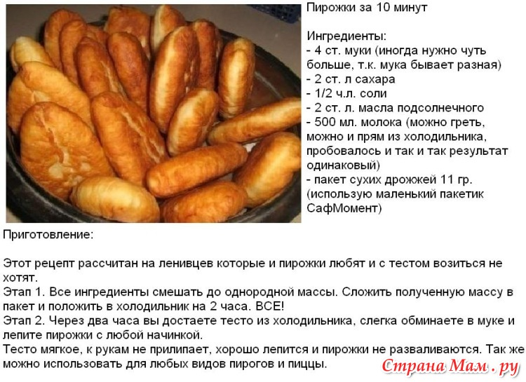 Очень быстрый рецепт теста для пирожков