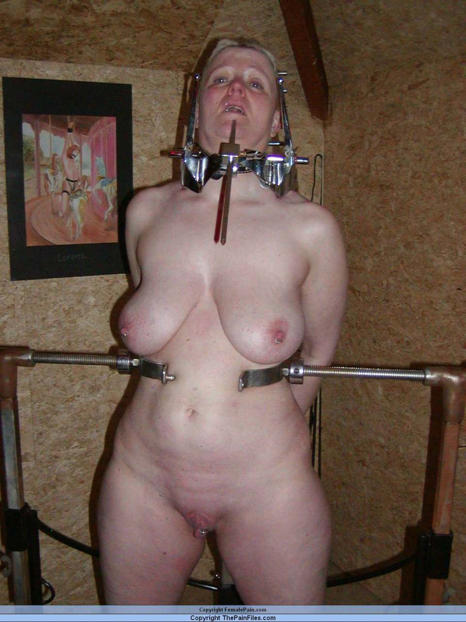 Above mature nude women in bondage