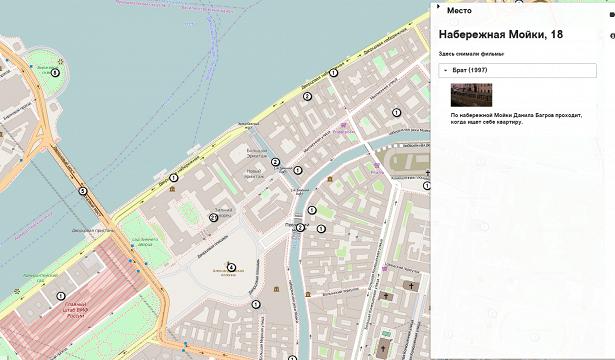 Создана онлайн-карта экранного Петербурга