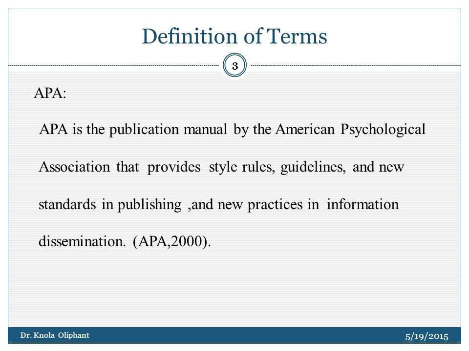 Definition of terms in research paper example
