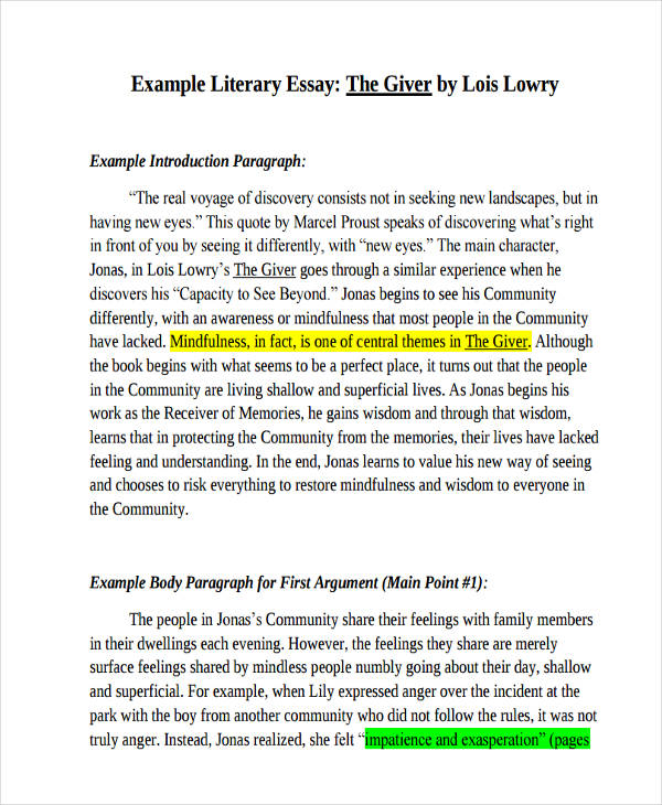 Free literature essays
