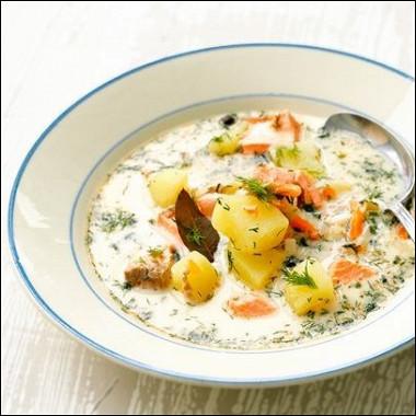 Рецепт Традиционный финский сливочный суп слососем (lohikeitto)