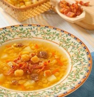 Рецепт Гороховый суп сбеконом игренками