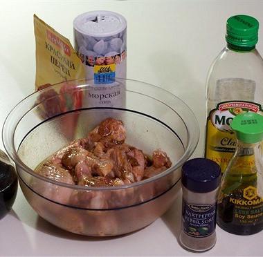 Рецепт Куриные крылышки вмаринаде избальзамического уксуса, соевого соуса икайенского перца