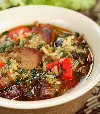 Рецепт Суп избаранины срисом, картофелем иалычой