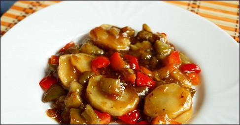 Баклажан с сладким перцем по китайски
