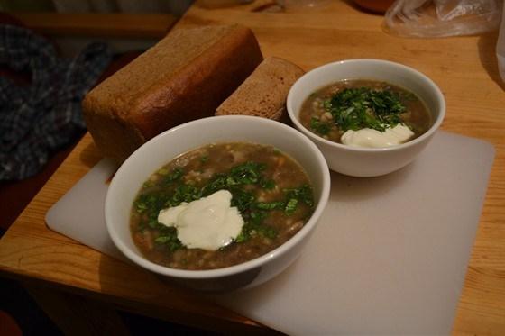 Суп из шампиньонов с перловкой